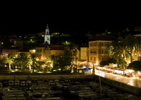 Night photography of Hvar island in Croatia  Beautiful view on the town