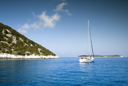A beautiful panorama taken from boat in Croatia  Sea landscape during summer  Stock Photo