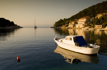 A beautiful panorama taken from dock in Croatia  Sea landscape during sunset  Stock Photo - 12738734