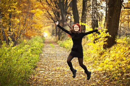 Young woman in the forest  Autumn in Poland  Stock Photo
