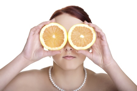 Beautiful young woman with grapefruit slices isolated on white background  Glamour portrait  photo
