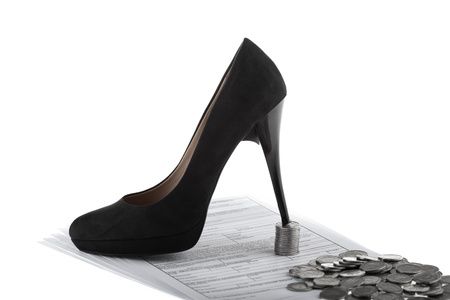 Elegant high heel shoe, business documents and one polish zloty coins  Businesswoman concept on white background
