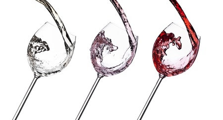 Set of white, rose and red wine splash isolated on white background. Food concept. photo