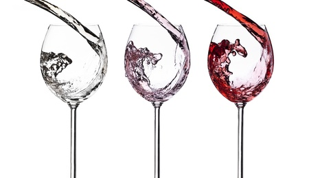 Set of white, rose and red wine splash isolated on white background. Food concept.