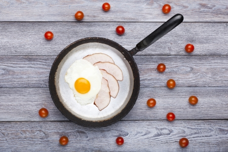 Fresh fried egg and pork ham served on pan with cherry tomatoes  English breakfast  photo