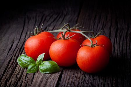 Fresh picked red tomatoes and basil composition  Vegetables  Stock Photo