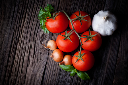 Fresh picked tomatoes and ketchup ingredients composition  Vegetables