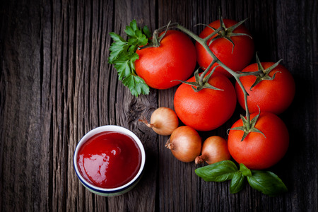 Fresh homemade ketchup and ingredients composition  Vegetables  Stock Photo