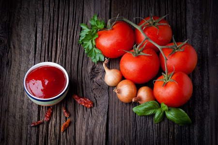 mild: Fresh homemade ketchup and ingredients composition  Vegetables  Stock Photo