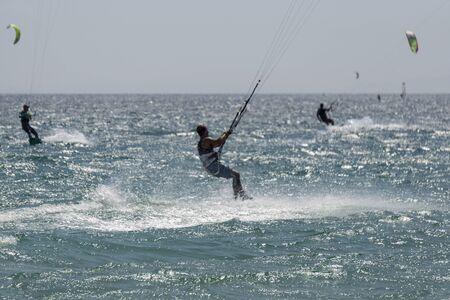 Kitesurfers on Tarifa. Spain.