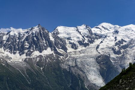 Alps in June. View of the Mont Blanc massif. Stock Photo
