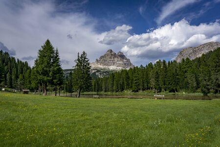 Tre Cime di Lavaredo - view from the area of Lago Antorno. Dolomites, Italy. Banco de Imagens