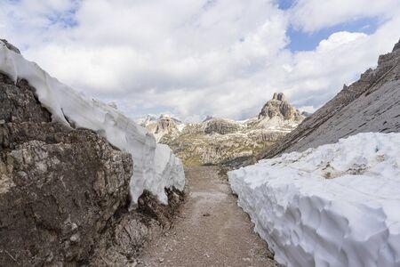 A mountain trail in the Dolomites. Around the Tre Cime di Lavaredo. Italy.