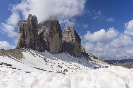 Tre Cime di Lavaredo. Majestic peaks in the Dolomites. Italy.