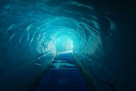Inside the Mer de Glace glacier. Chamonix. France. Alps.