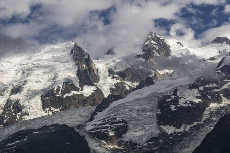 Beautiful scenery of the great mountain peaks in the Mont Blanc massif.