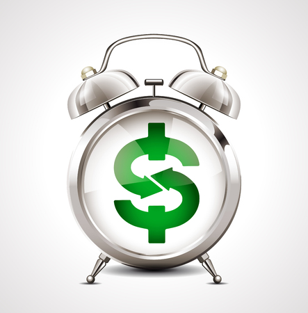 alarm clock: Alarm clock - business symbol - dollar sign