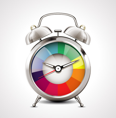 目覚まし時計の時間管理  イラスト・ベクター素材