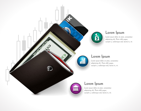 increment: Wallet illustration as home budget - invest on stock exchange