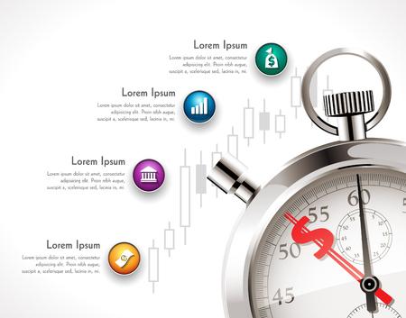 ビジネス コンセプトの証券取引所 - ドル記号とストップウォッチの時間の投資プロセス
