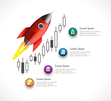 price gain: Fast profits investment process on stock exchange - Rocket Illustration