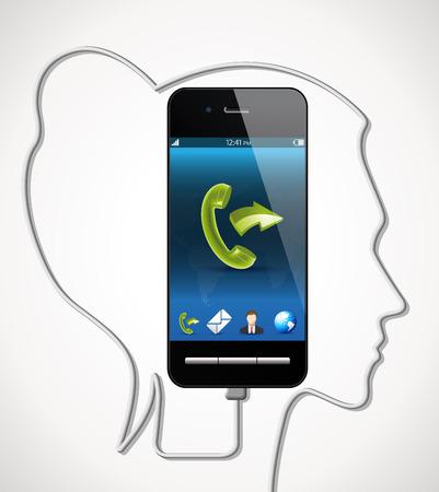 hablar por telefono: Cellphone - talking phone concept Vectores