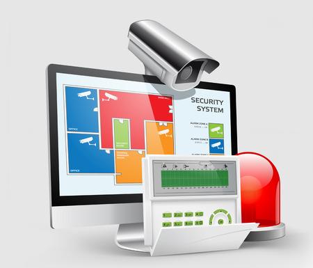 Zugang - Einbruchalarm, CCTV Sicherheit - Alarmanlage Illustration