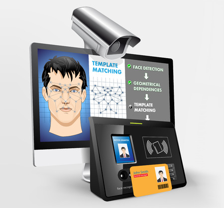 フェイス認識: 近接リーダと生体認証セキュリティ システム 写真素材 - 47856663