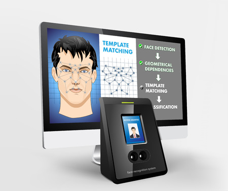 Face recognition - Biometric Security System with proximity reader Stock fotó - 47856664