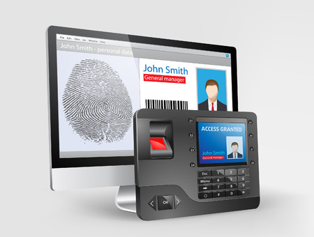 fingerprint card: Access - Biometric fingerprint reader Illustration