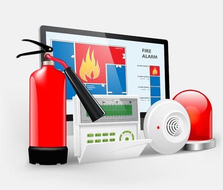 Accesso - Allarme incendio, Sistema di sicurezza, zone di allarme, zone di sicurezza Archivio Fotografico - 47856670