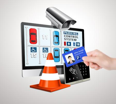 Toegangscontrole parkeersysteem Vector Illustratie