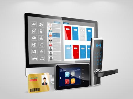 Zutrittskontrolle und Management-System für Hotels und Krankenhäuser Illustration