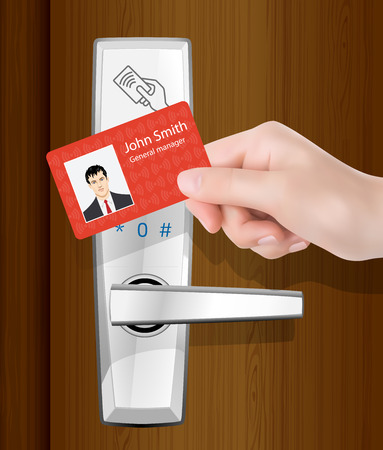 access control: Access control - wireless door lock with proximity card in hand