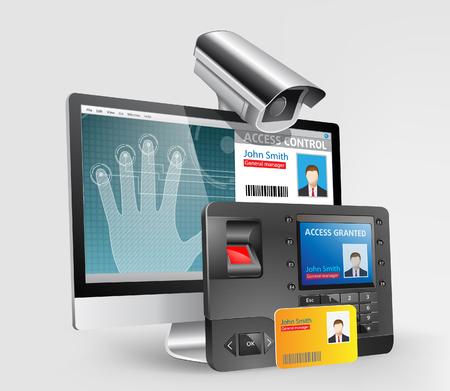 System kontroli dostępu, skaner linii papilarnych oraz czytnik zbliżeniowy Mifare Ilustracje wektorowe
