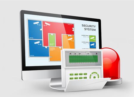 system: sistema de control de acceso - zonas de alarma con lectores de proximidad Vectores