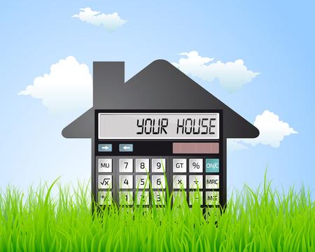 Rechner - ein eigenes Haus, Bankkredit Standard-Bild - 47857162