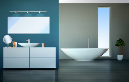 modern interieur: Modern bathroom - home interior - vector graphic