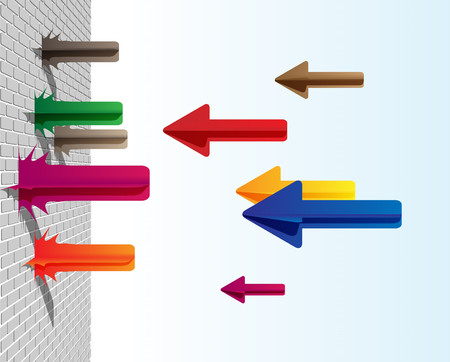 broken strategy: Colorful arrows on the wall Illustration