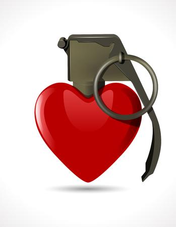 love detonate: Grenade - Heart Illustration