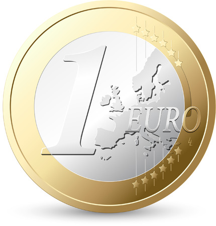gold and silver coins: 1 Euro - European currency