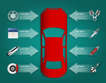 brake: Car parts - brakes, pistons, car light bulb, alloy wheels, spark plug, battery, absorber, car muffler