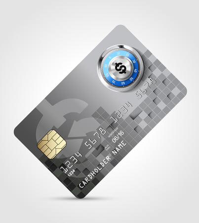 fare: Dollar sign - credit card - safe money concept