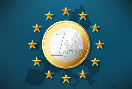 tax policy: 1 Euro - currency symbol on EU flag Illustration