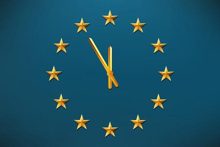europa: bandera de la Unión Europea con el reloj entre las estrellas - Europa concepto de crisis Vectores