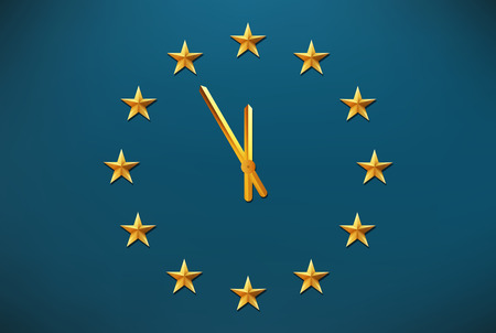 european union: European Union flag with clock between stars - Europe crisis concept Illustration