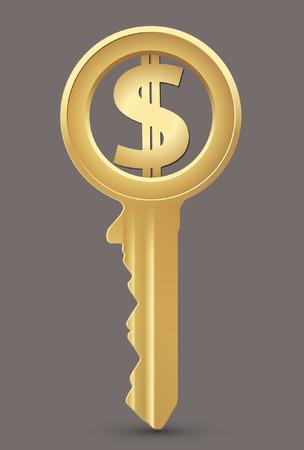 dollars: Dollar key - money concept
