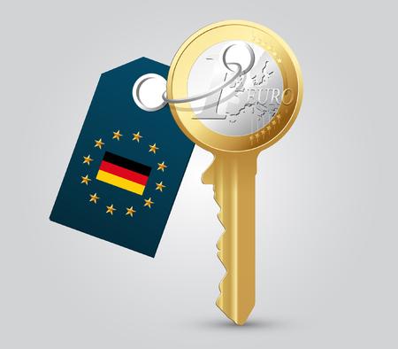 tenancy: Euro key - money concept - Germany Illustration