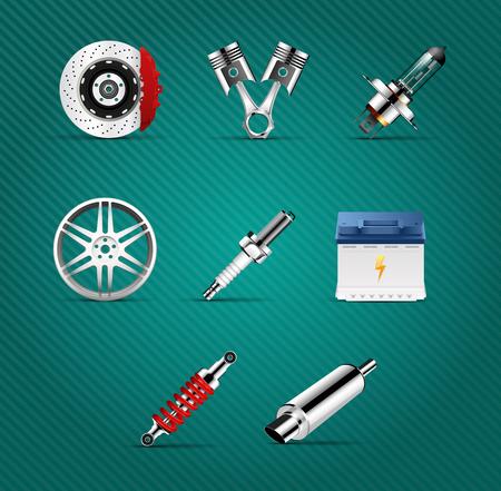 Car parts - brakes, pistons, car light bulb, alloy wheels, spark plug, battery, absorber, car muffler