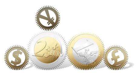 cash flows: Euro gears - money concept